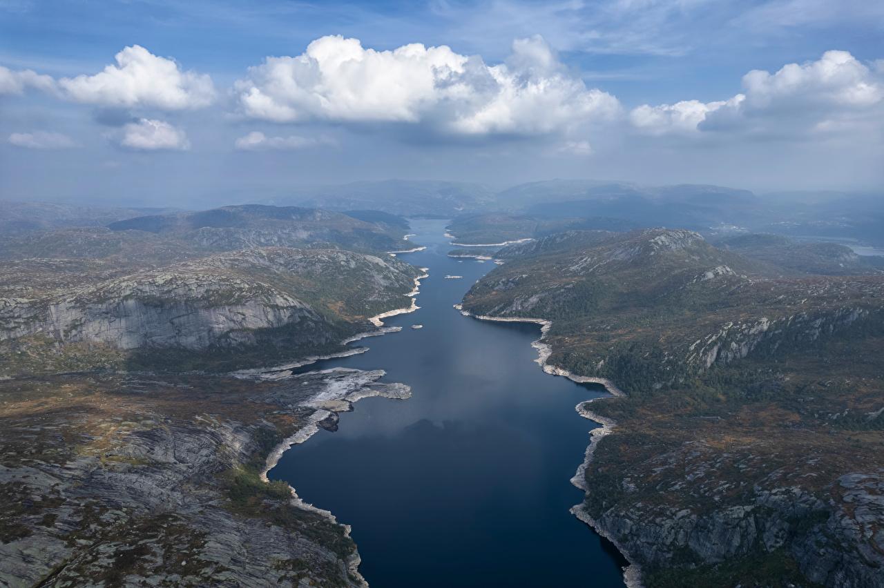 Фотографии Норвегия Valevatn гора Природа Озеро Сверху Облака Горы облако облачно