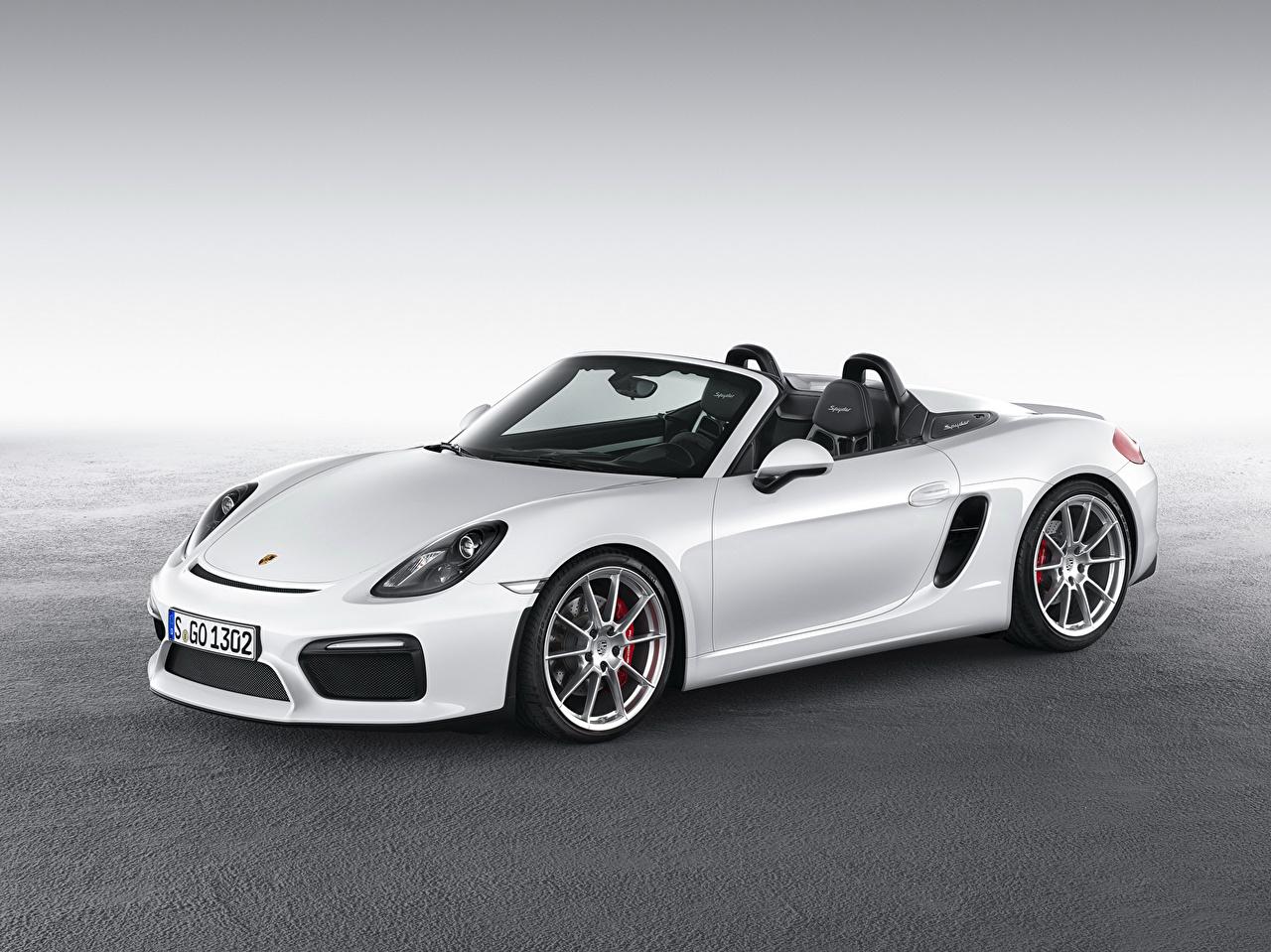 Обои для рабочего стола Porsche 2015 Boxster Кабриолет белых авто Металлик Порше кабриолета белая белые Белый машина машины Автомобили автомобиль