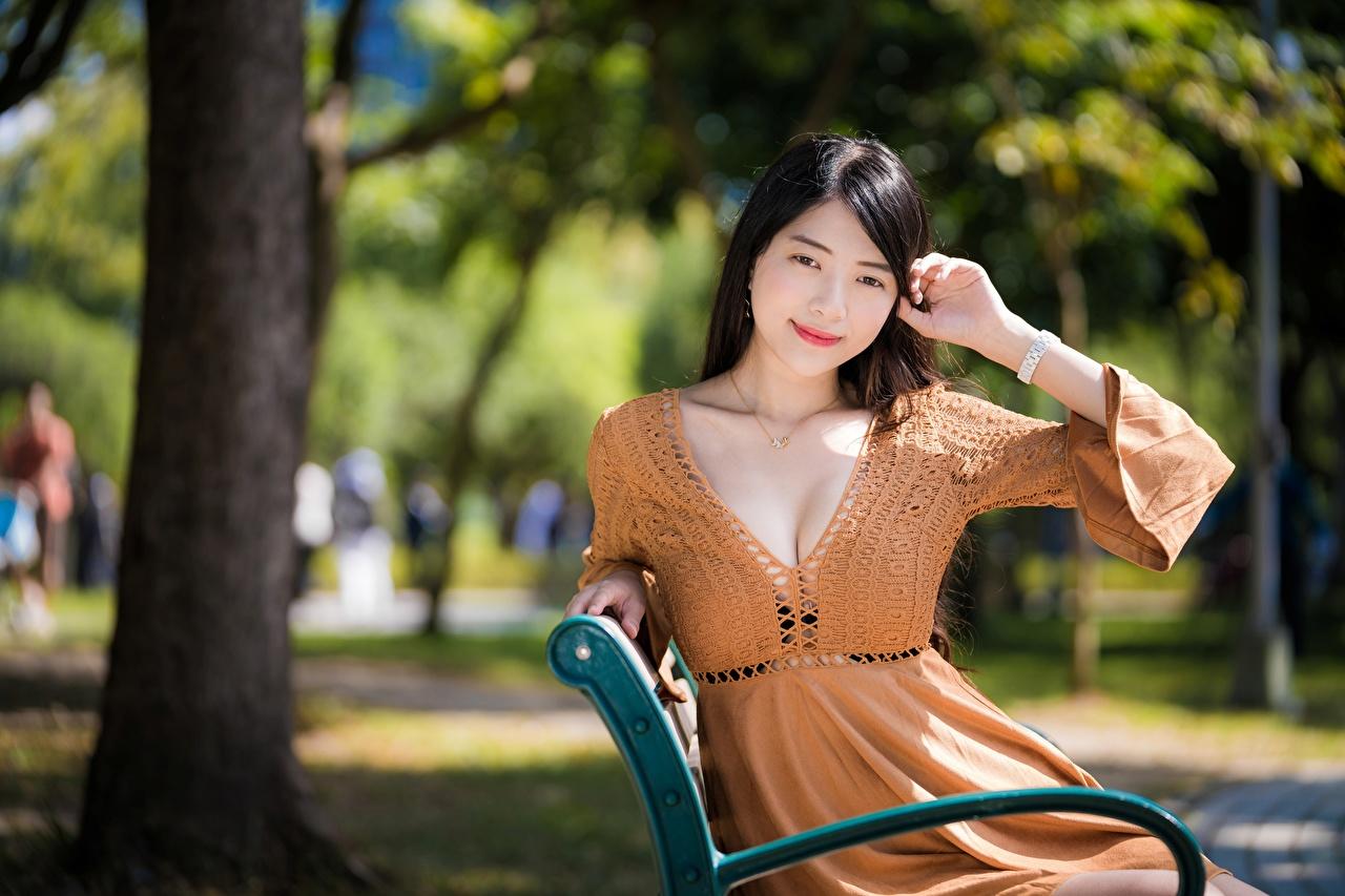 Фотографии Брюнетка Улыбка боке Декольте Девушки Азиаты Руки Платье брюнетки брюнеток улыбается Размытый фон вырез на платье девушка молодая женщина молодые женщины азиатки азиатка рука платья
