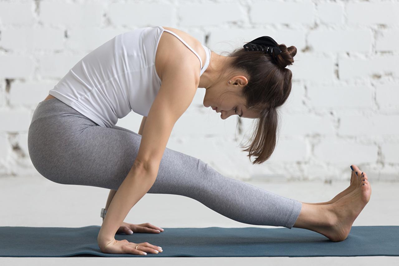 Фотография Шатенка Физические упражнения Фитнес Спорт Девушки Ноги Тренировка