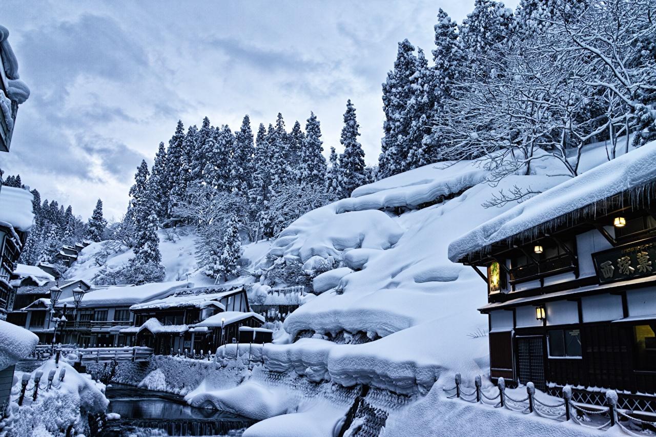 Картинка Япония Yamagata, Ginzan Onsen Природа снега Дома город Снег снегу снеге Здания Города