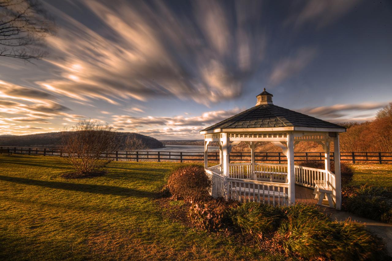 Фото Пенсильвания америка Klinesville, Gazebo HDR осенние Природа Облака США штаты HDRI Осень облако облачно
