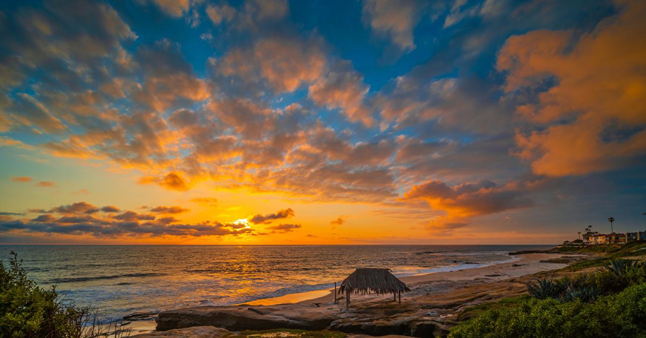 Картинка Калифорния америка Windandsea Beach Пляж Океан Природа Небо Рассветы и закаты берег облако калифорнии США штаты пляжа пляже пляжи рассвет и закат Побережье Облака облачно