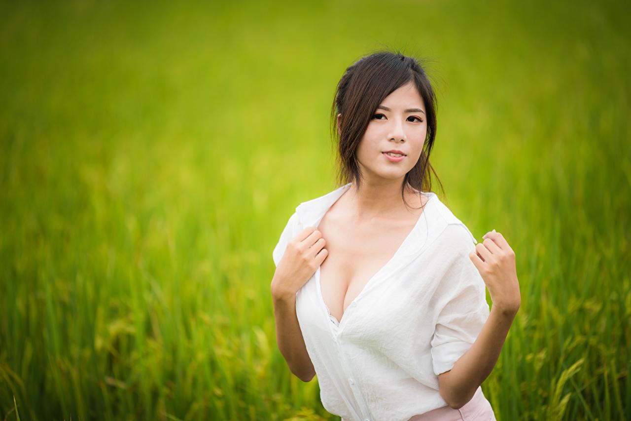 Фото Блузка Девушки азиатки рука смотрят девушка молодая женщина молодые женщины Азиаты азиатка Руки Взгляд смотрит