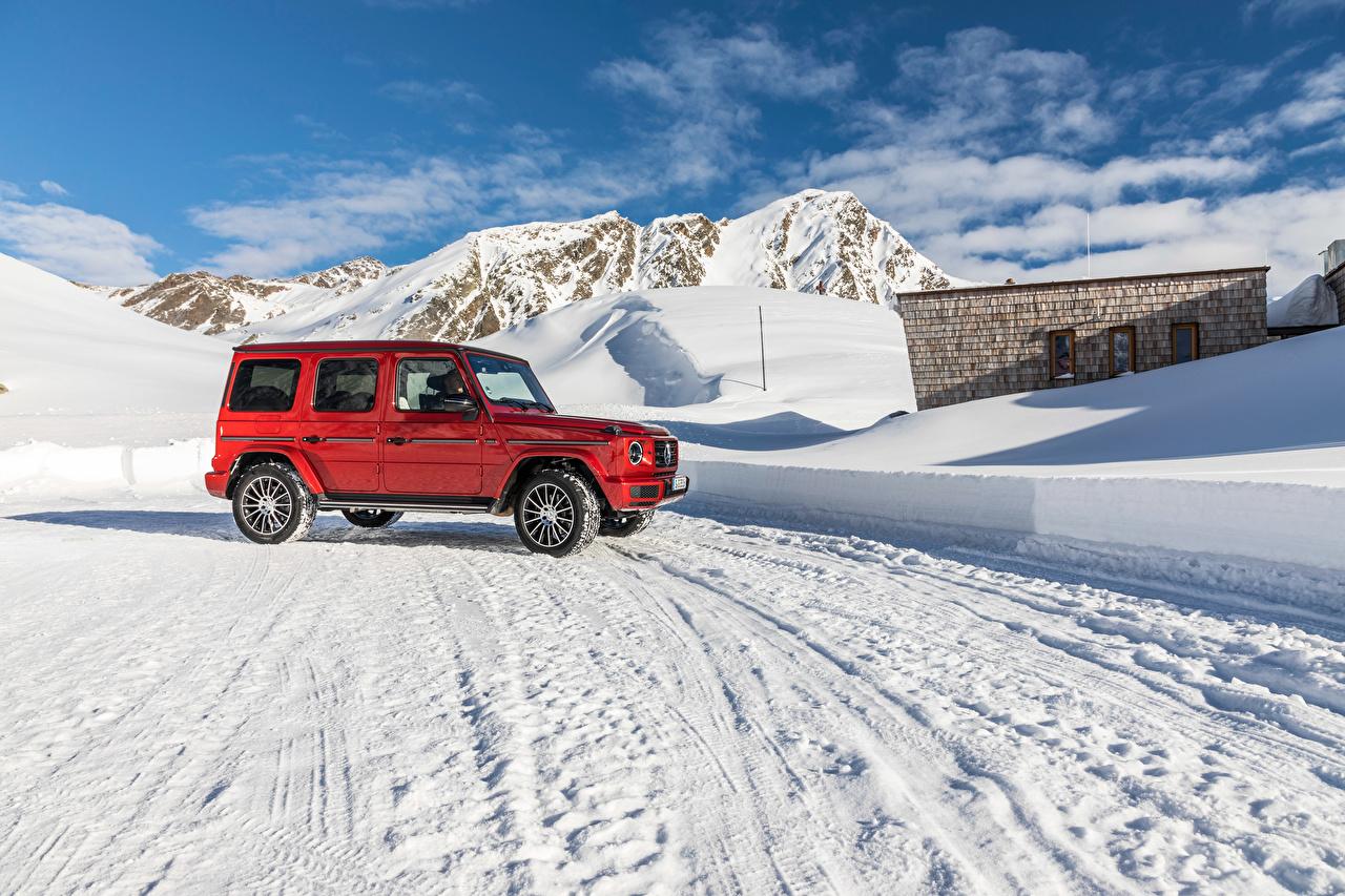 Фото Мерседес бенц Внедорожник 2019 G 350 d AMG Line Worldwide Красный Автомобили Mercedes-Benz SUV красных красные красная авто машина машины автомобиль