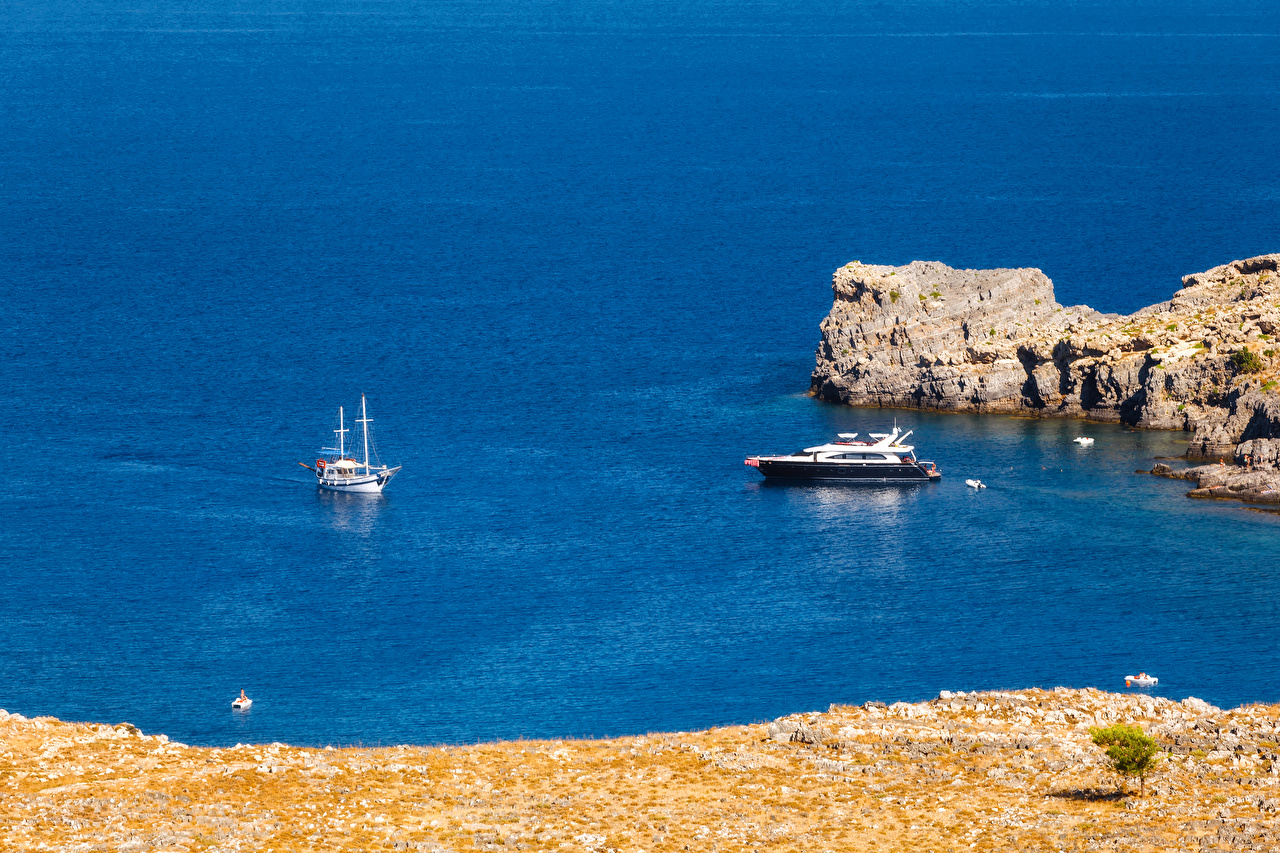 Фото Греция Rhodes Island Море Природа Яхта берег Побережье