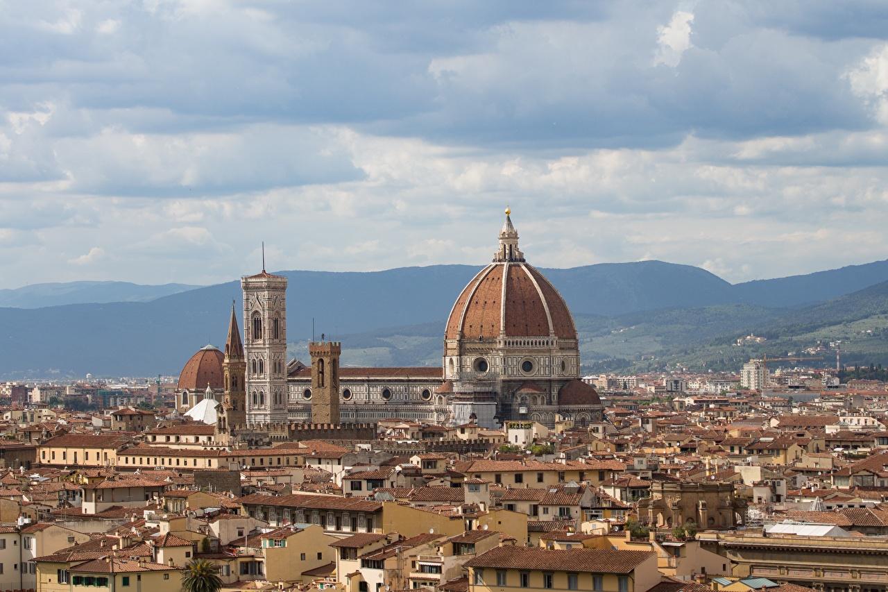 Фото Флоренция Италия Tuscany Крыша купола Горизонт Города Купол краши крыше горизонта город