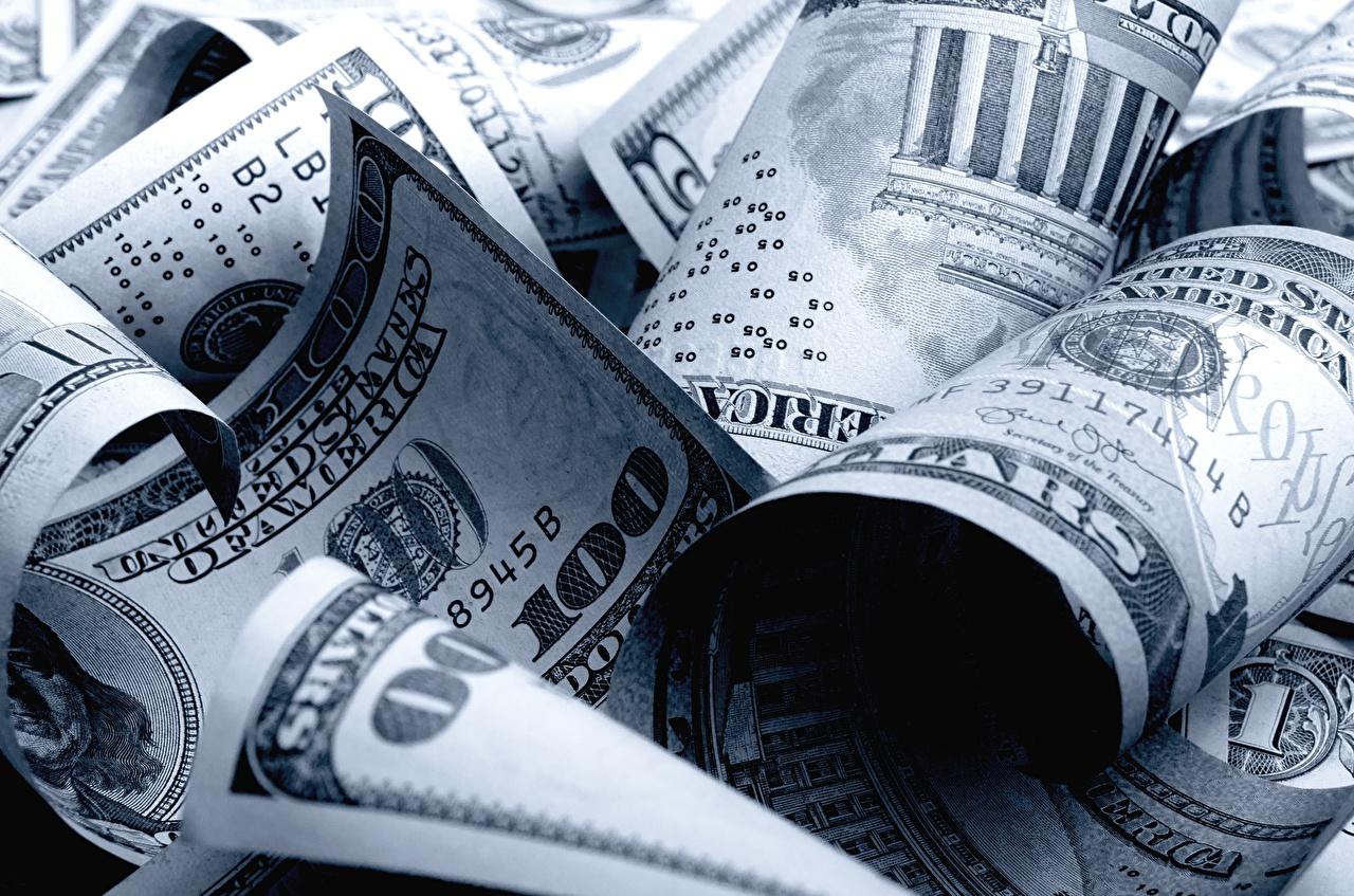 Картинки Доллары Банкноты 100 Деньги Крупным планом Купюры вблизи