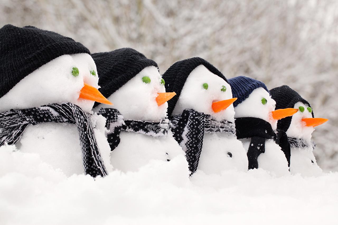 Обои для рабочего стола снега Снеговики Снег снегу снеге снеговик снеговика