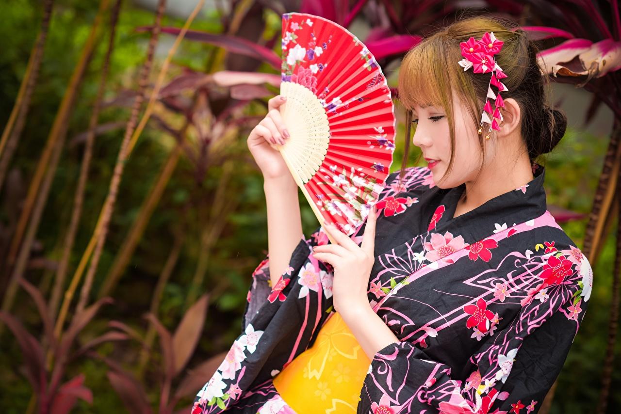 Обои для рабочего стола шатенки Размытый фон Веер Кимоно Девушки Азиаты Руки Шатенка боке девушка молодая женщина молодые женщины азиатки азиатка рука
