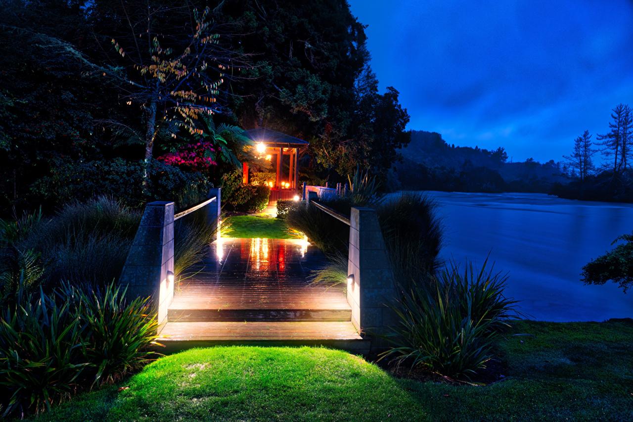 Фотография Новая Зеландия Huka Lodge Мосты Природа Ночь речка мост Реки река ночью в ночи Ночные