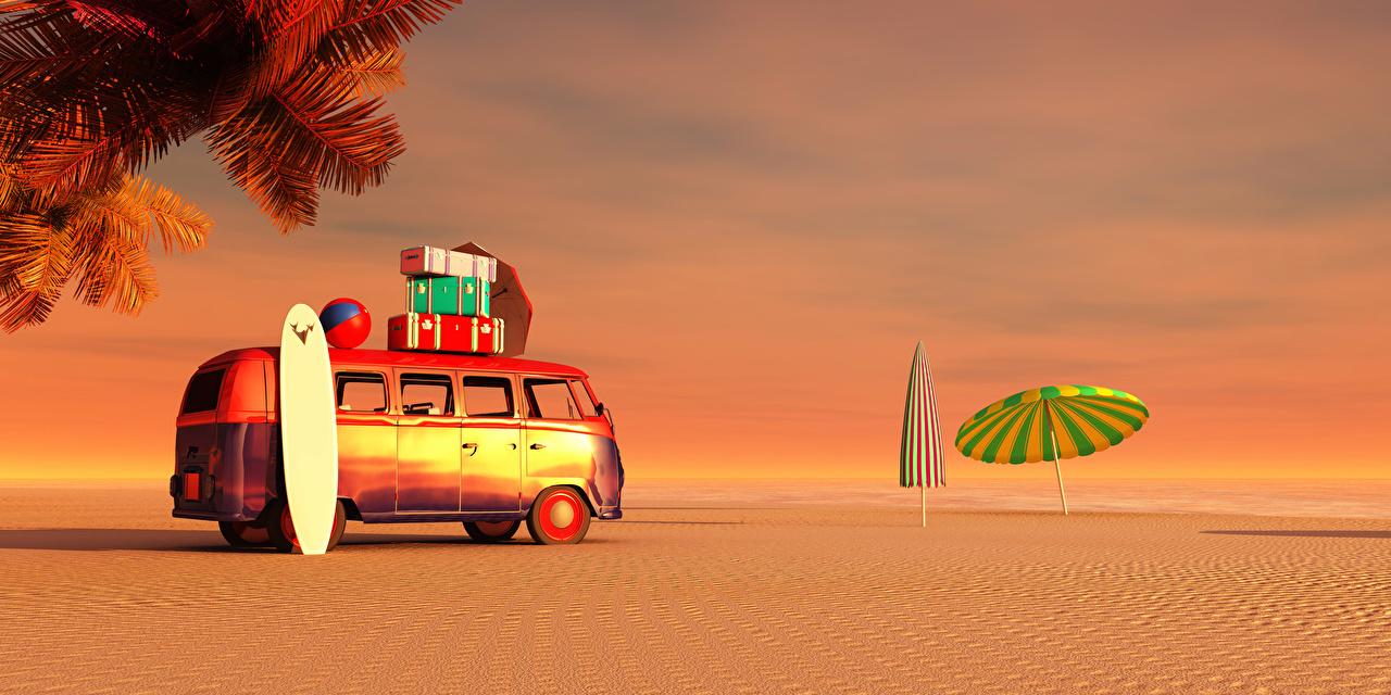 Фотография Автобус Курорты 3D Графика Песок Зонт Побережье берег