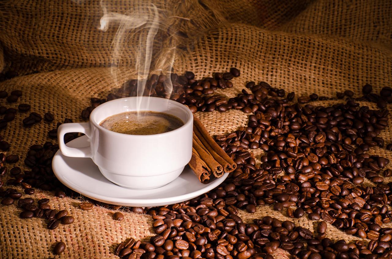 Фото Кофе Зерна Корица Пища паром Чашка зерно Пар Еда пары чашке Продукты питания