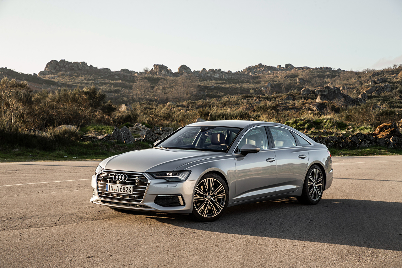 Обои Audi 2018 A6 50 TDI quattro Worldwide серебряная Металлик Автомобили Ауди серебряный серебристая Серебристый Авто Машины
