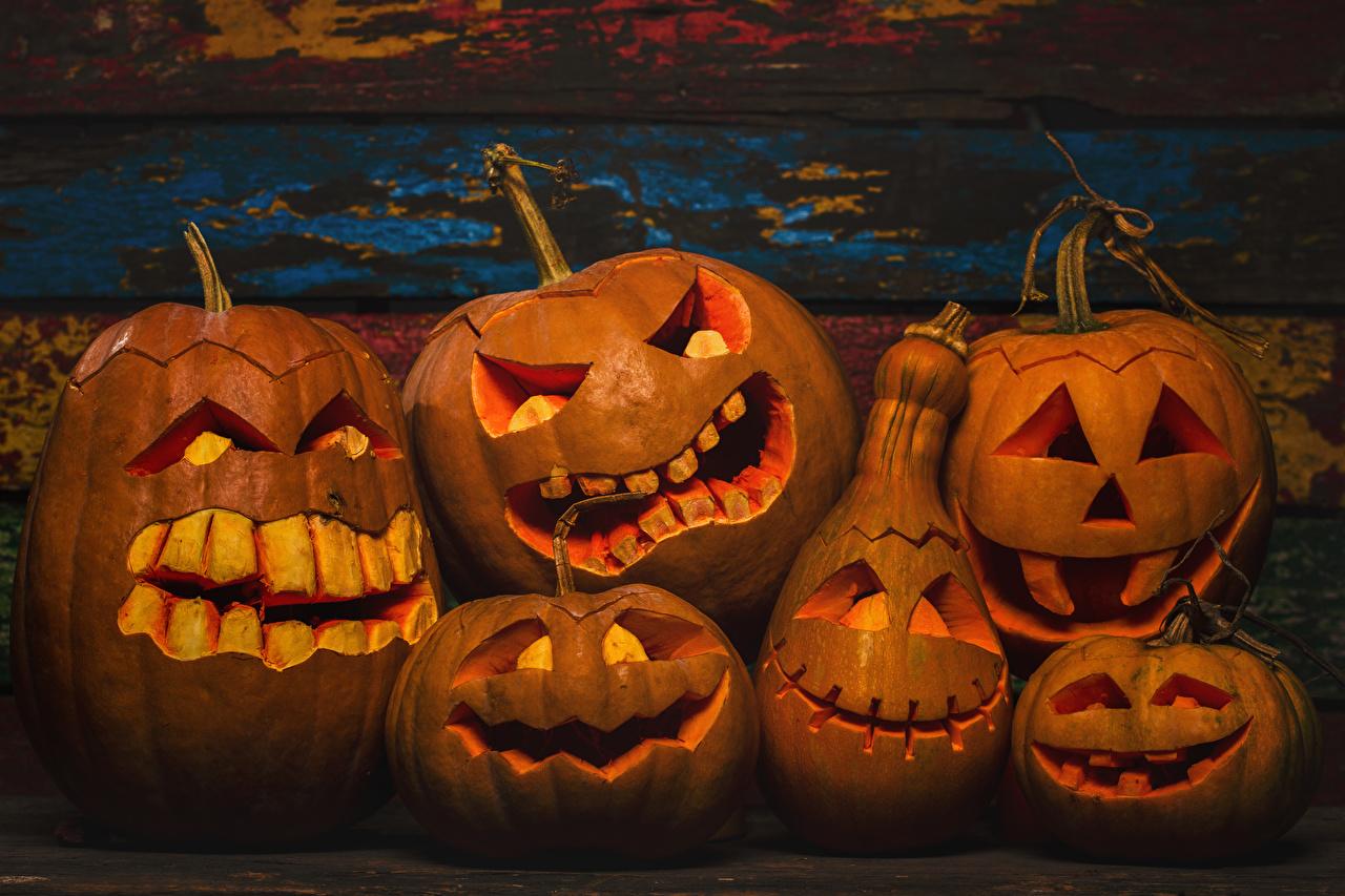 Фотографии Тыква хэллоуин Зубы Доски Хеллоуин