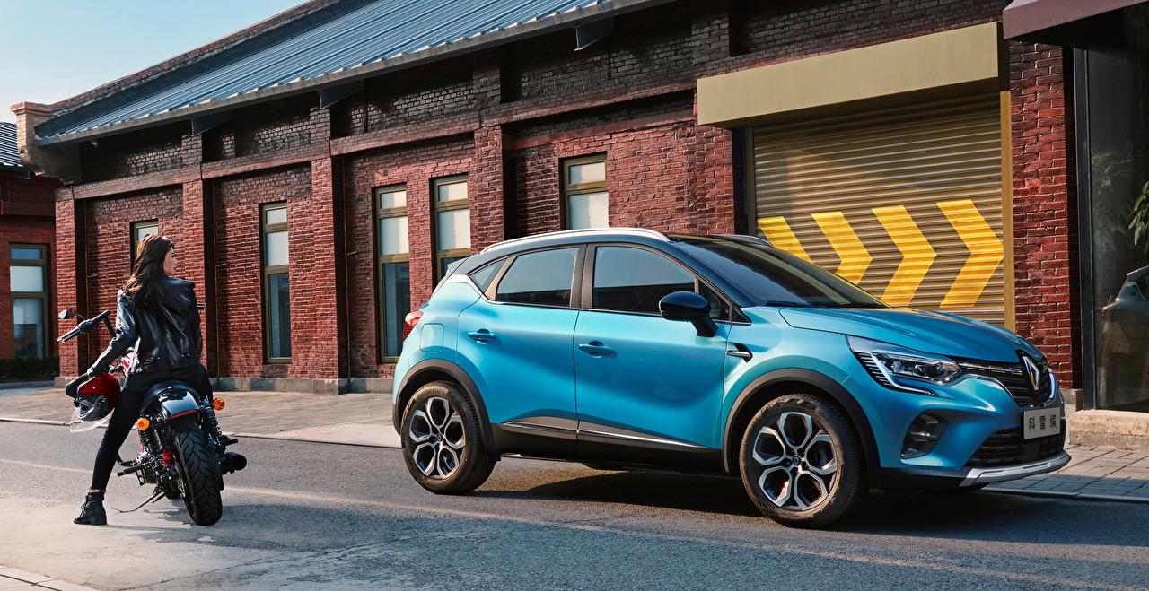 Картинки Renault 2019 Captur Голубой машины Рено голубых голубые голубая авто машина автомобиль Автомобили