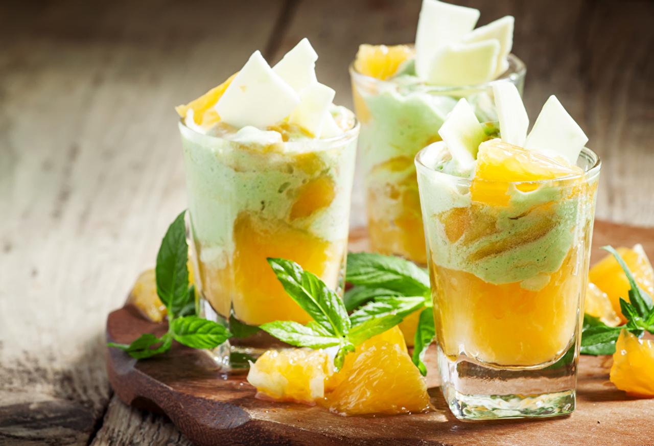 Фотография Стакан Ананасы Еда три сладкая еда стакана стакане Пища Трое 3 втроем Продукты питания Сладости