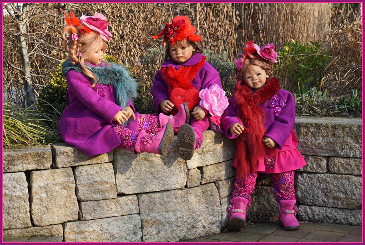 Фотография втроем парк Девочки Grugapark Essen  Природа куклы шляпы три Трое 3 Парки девочка Кукла Шляпа шляпе