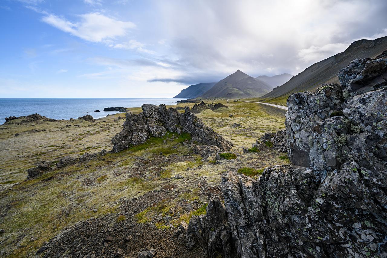Обои для рабочего стола Исландия Горы Скала Природа берег гора Утес скале скалы Побережье