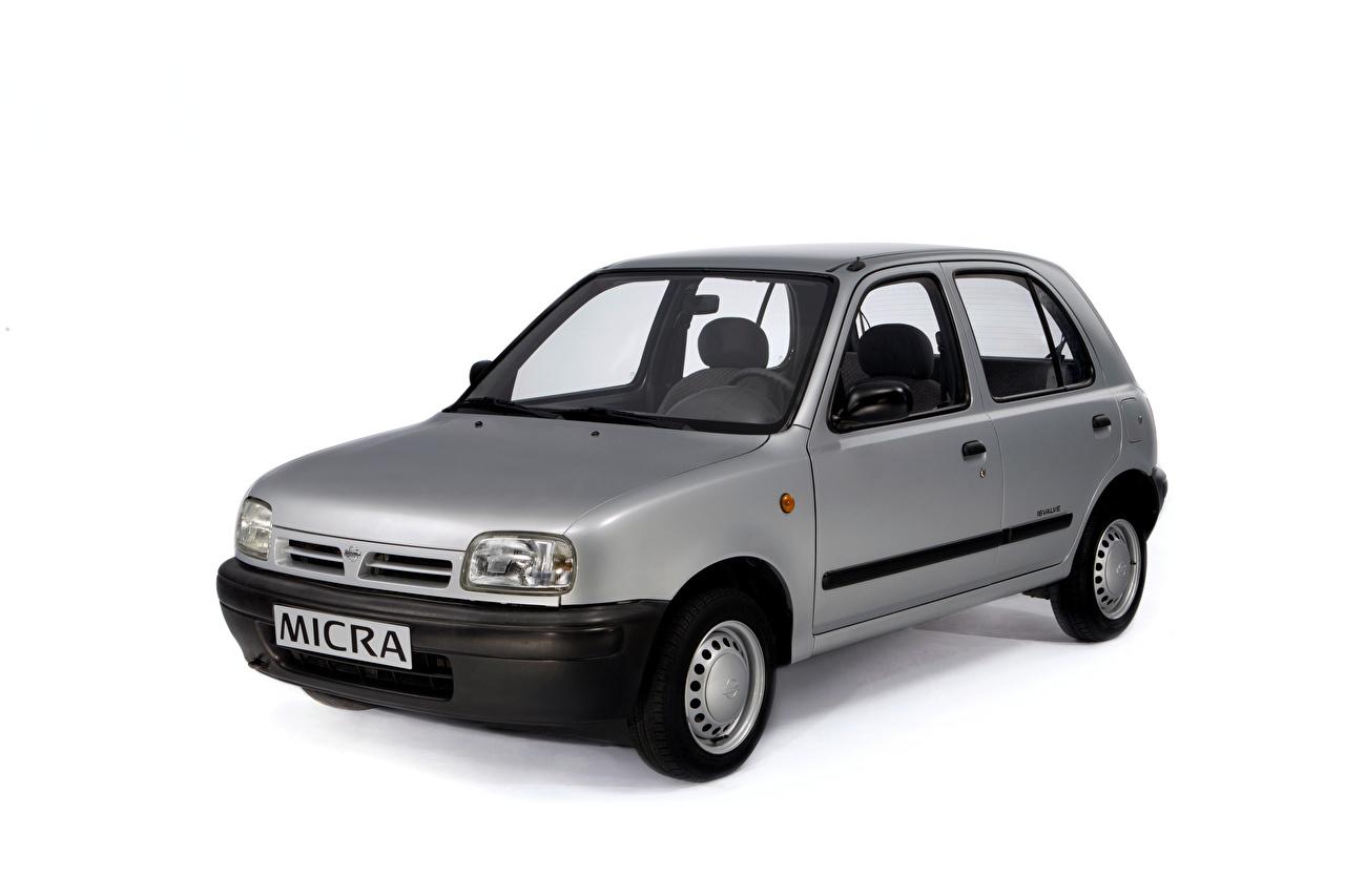 Картинки Nissan Micra 5-door (K11), 1992–97 серые авто Металлик Белый фон Ниссан серая Серый машина машины Автомобили автомобиль белом фоне белым фоном