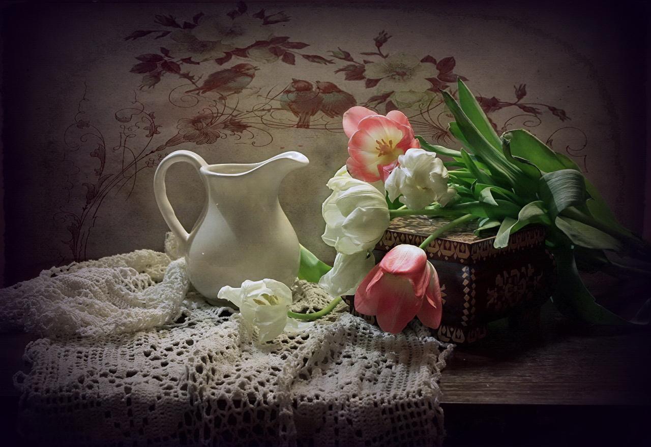 Фотография Тюльпаны Цветы Кувшин Натюрморт