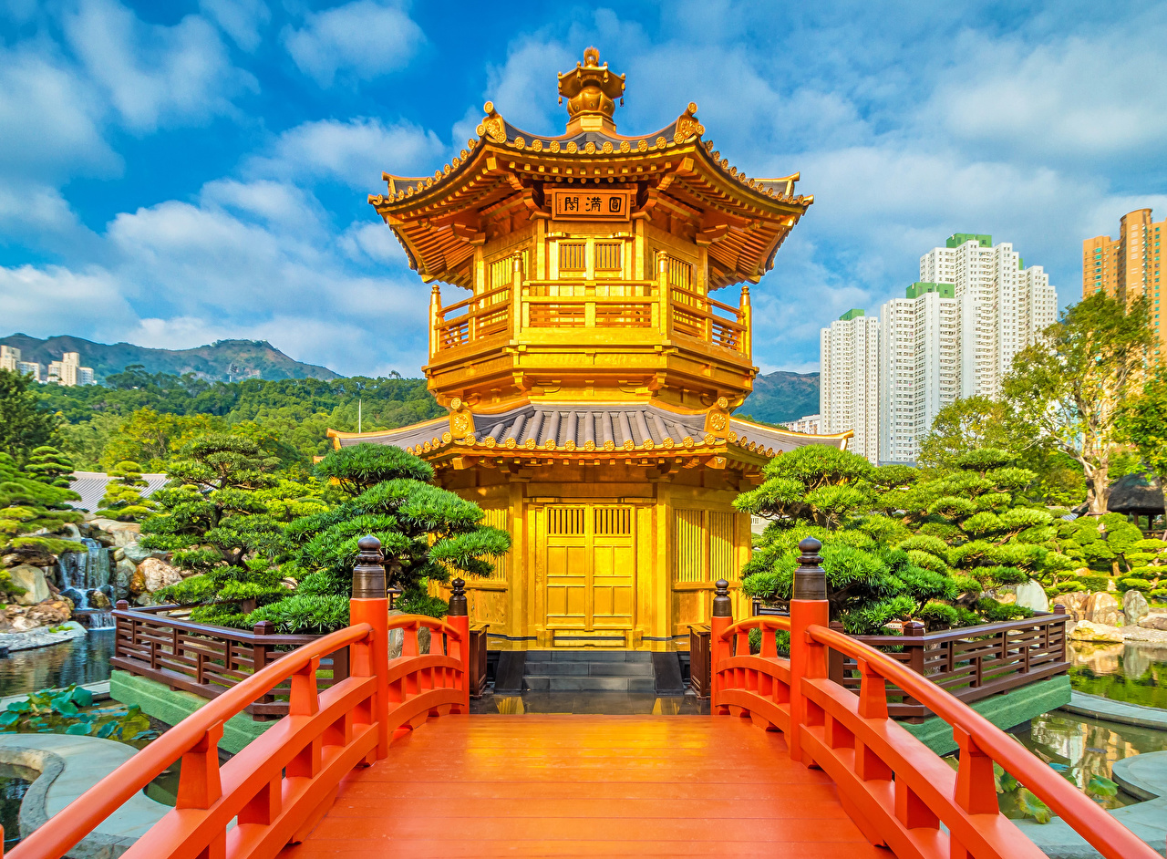 Картинки Китай Nan Lian Gardens Мосты Природа парк Забор Пагоды мост Парки забора ограда забором
