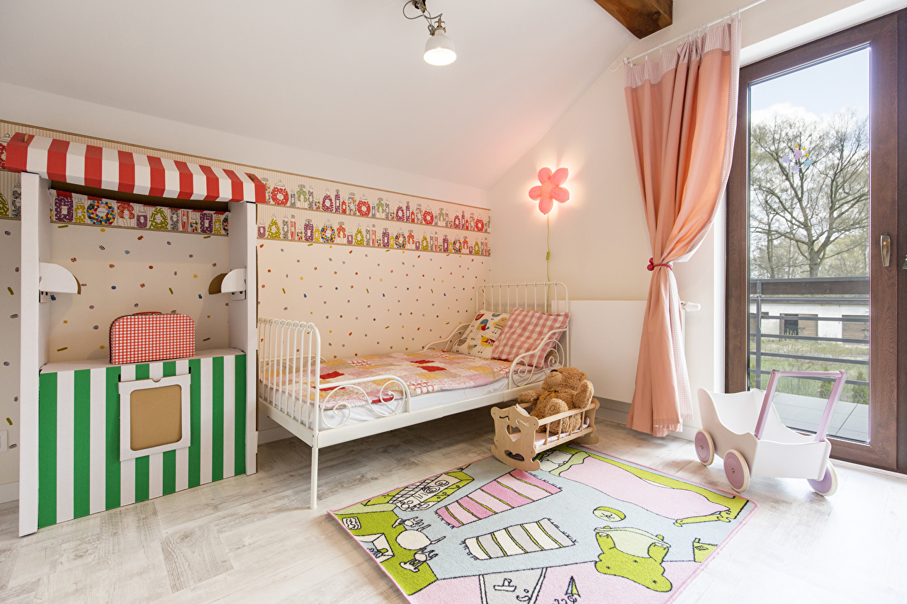 Картинки Детская комната Интерьер кровати дизайна постель Кровать Дизайн
