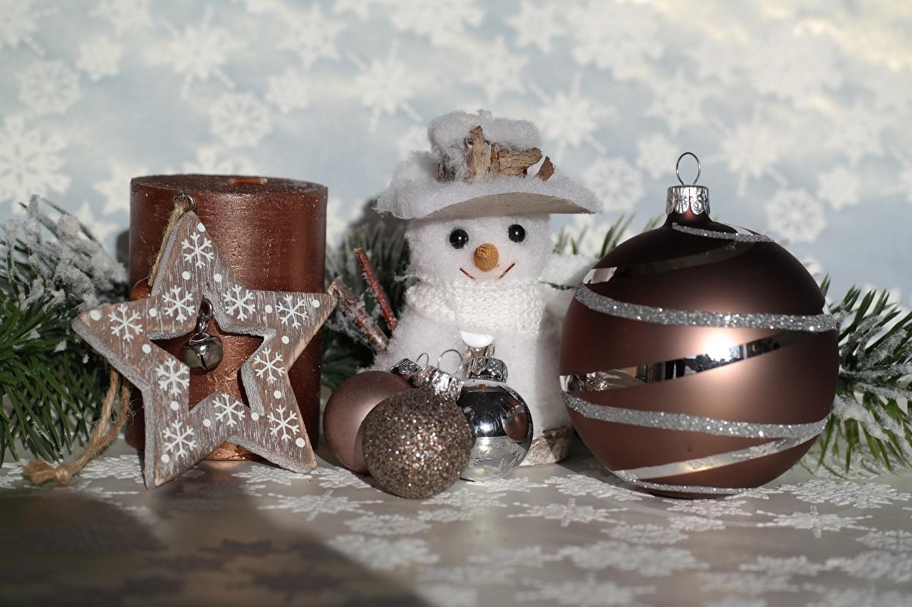 Картинка Рождество Звездочки шляпы Снеговики Шар Игрушки Новый год шляпе Шляпа снеговик снеговика Шарики игрушка