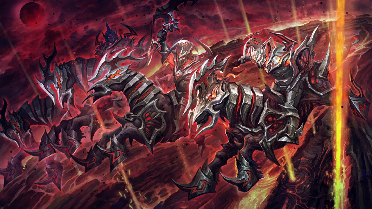 Картинка DOTA 2 Хаос кнайт лошадь Доспехи воины Фэнтези компьютерная игра Chaos Knight броне броня Лошади доспехе доспехах воин Воители Фантастика Игры