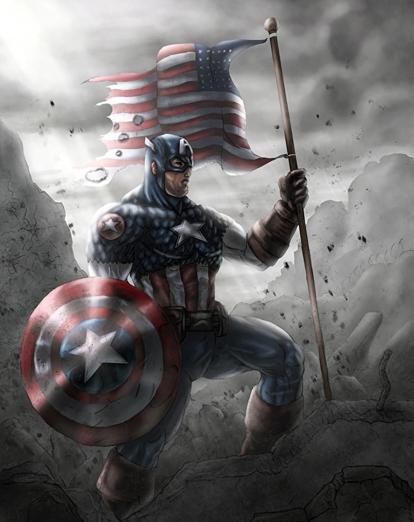Фотография Щит Герои комиксов Капитан Америка герой Фэнтези Флаг Фантастика
