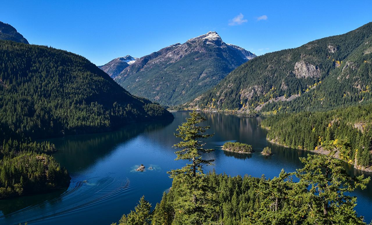 Фото штаты Diablo Lake Горы Природа Леса Озеро США америка гора лес