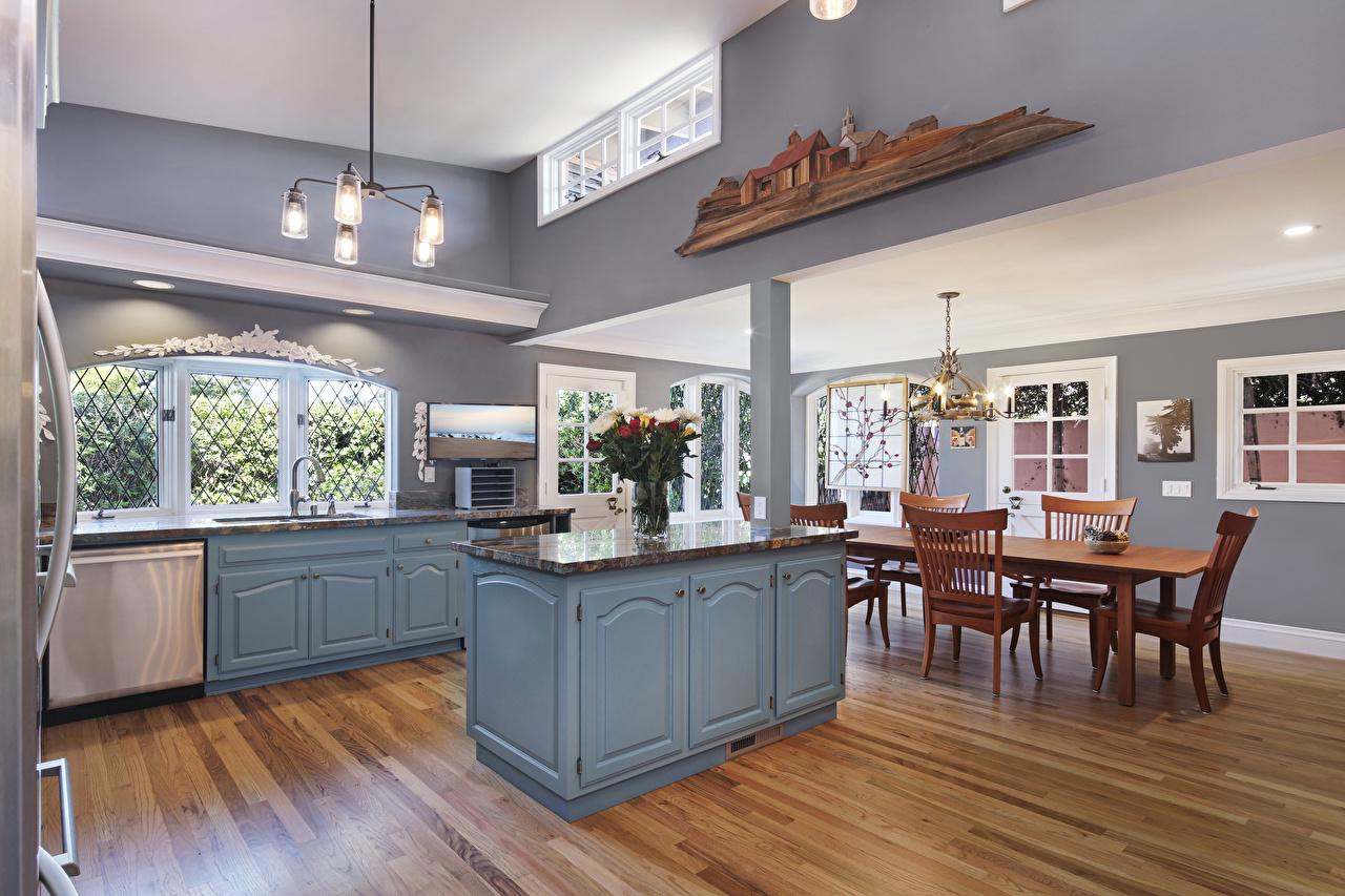 Обои для рабочего стола кухни Интерьер стул стола Люстра дизайна Кухня Стол столы люстры Стулья Дизайн