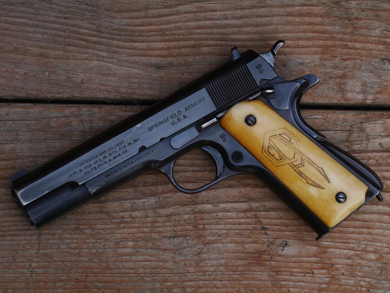Картинки пистолет М1911 автомобиль вблизи Пистолеты пистолетом авто машина машины Автомобили Крупным планом