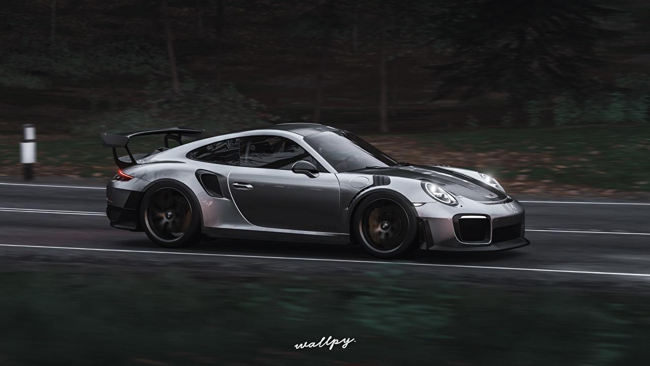 Обои для рабочего стола Forza Horizon 4 Porsche 911 GT2 RS by Wallpy 3D Графика серебряный Игры Движение авто Сбоку Порше 3д серебряная Серебристый серебристая едет едущая едущий скорость компьютерная игра машина машины автомобиль Автомобили