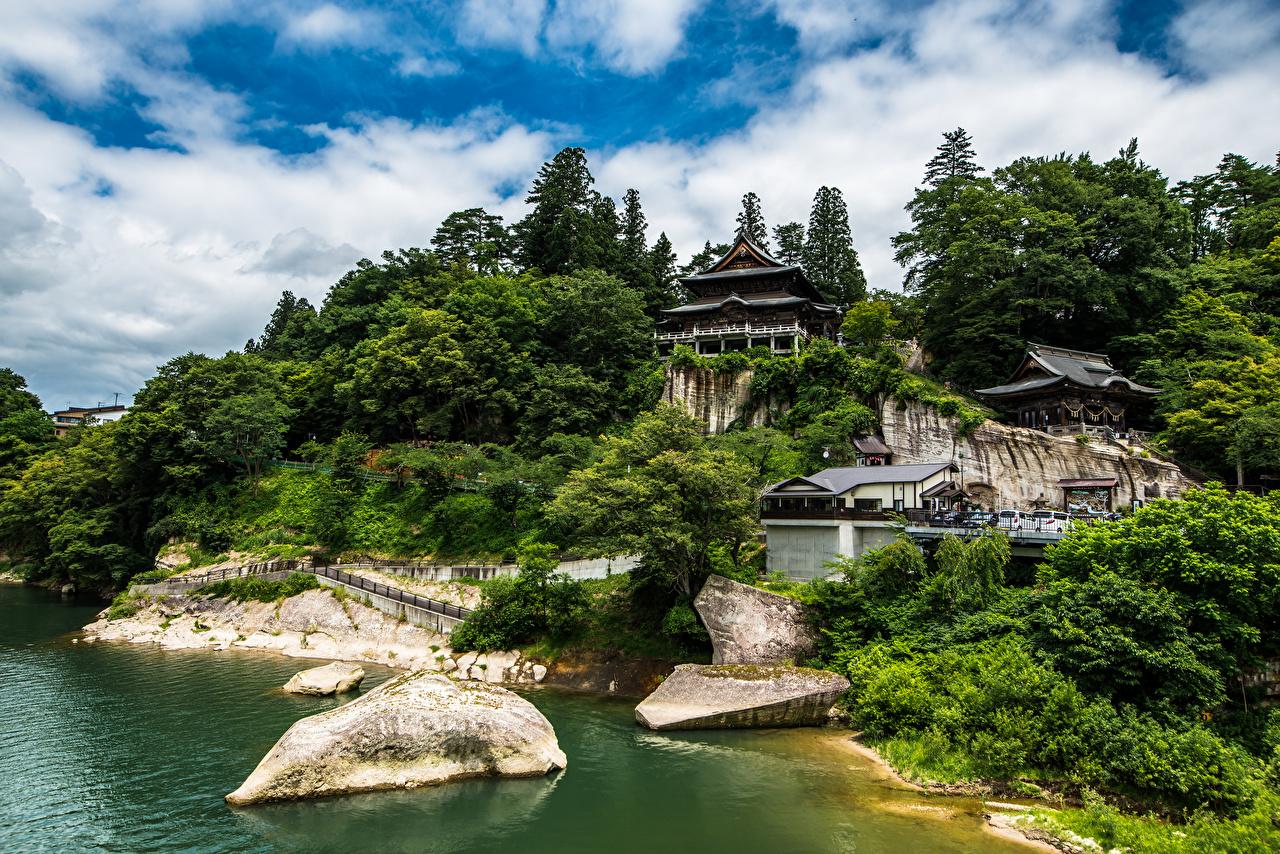 Фотографии Япония Tohoku Природа храм Деревья облачно Храмы дерево дерева Облака облако деревьев