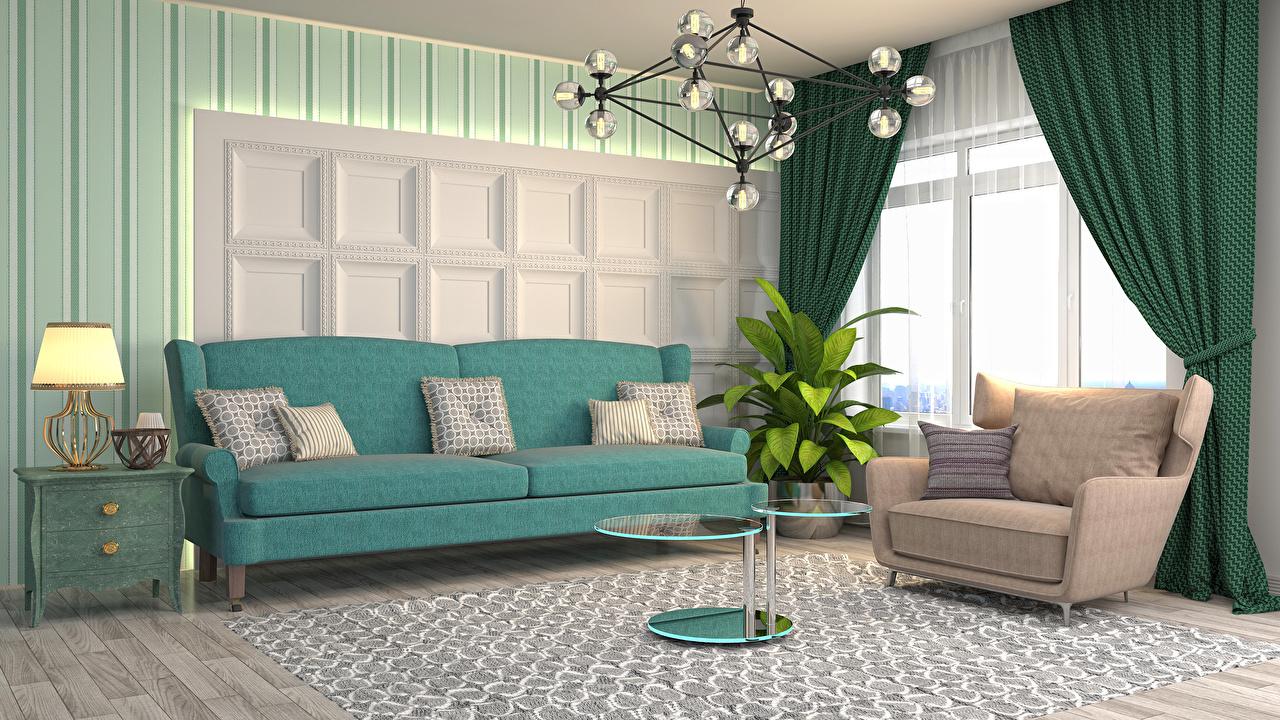 Обои для рабочего стола гостевая 3д Интерьер ламп столы Кресло диване подушка Гостиная 3D Графика Стол лампы Лампа Диван стола Подушки
