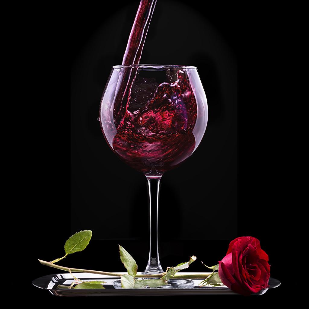 Картинки Вино Розы красная Цветы Еда бокал на черном фоне красных красные Красный цветок Пища Бокалы Продукты питания Черный фон