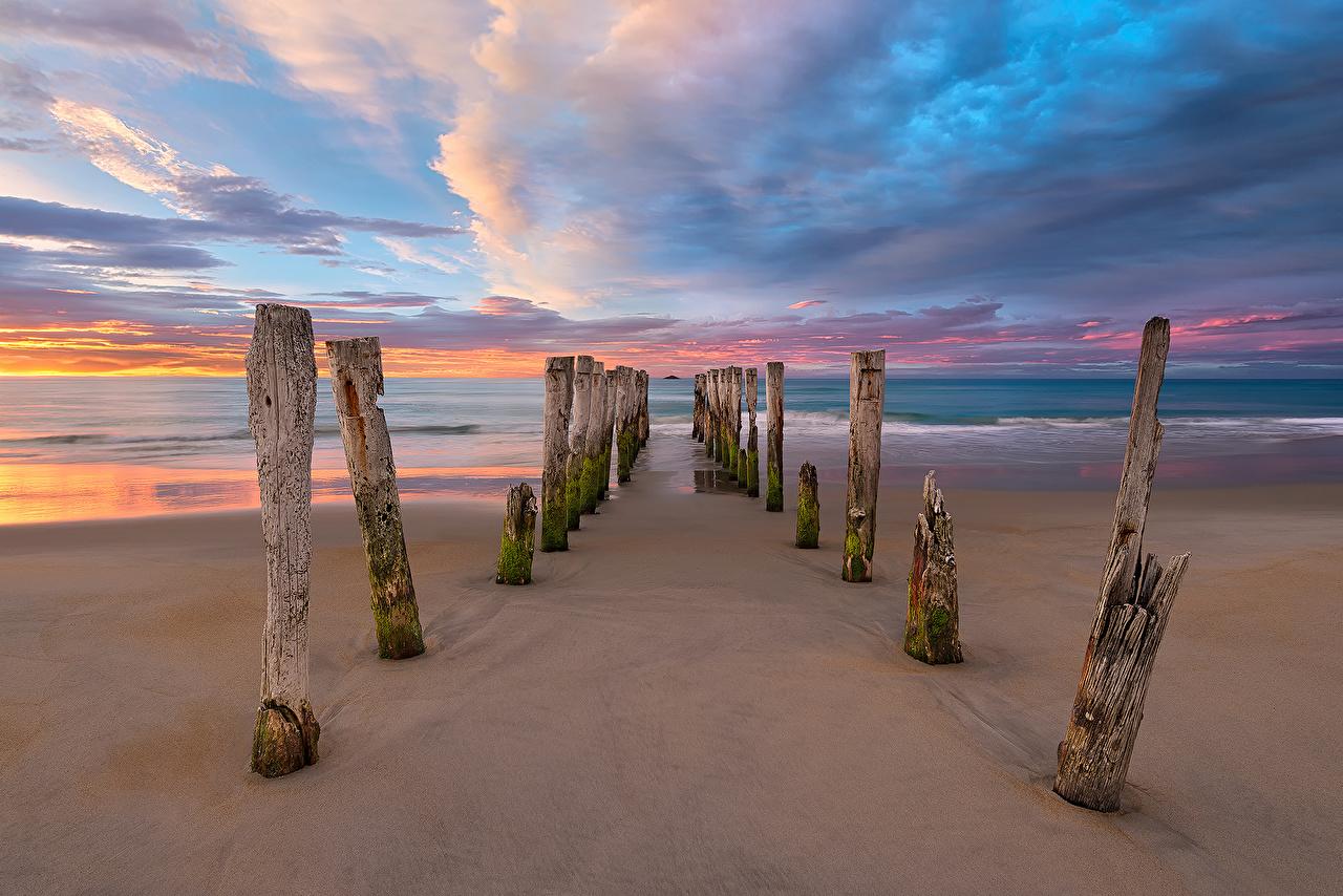 Фото Новая Зеландия пляжа Море Природа берег Облака Пляж пляже пляжи Побережье облако облачно