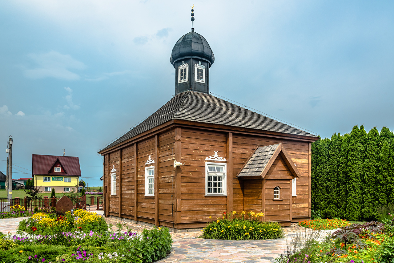 Фотографии Мечеть Польша Деревня Bohoniki Старый из дерева Города село поселок старая старые Деревянный город