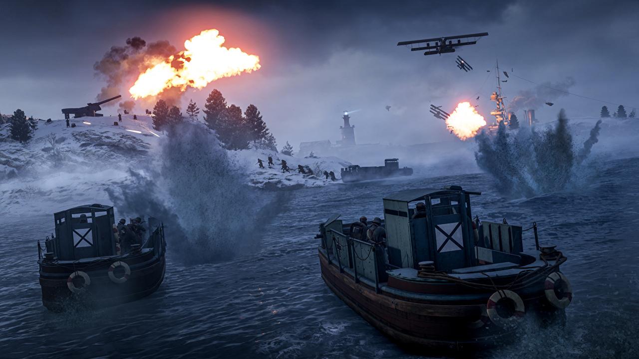Фотография Battlefield 1 Десантники стрельба 3D Графика компьютерная игра Катера Десант высодка десанта Выстрел стреляет выстрелил 3д Игры