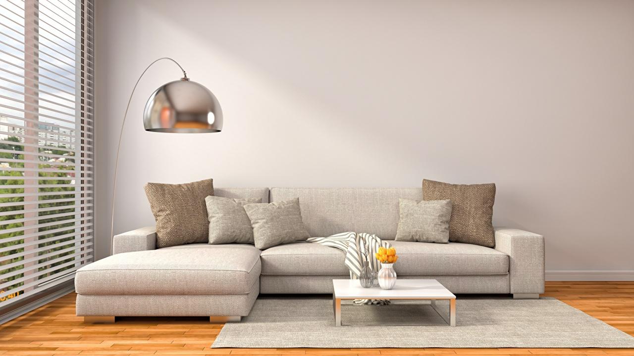 Фотографии 3D Графика Интерьер Диван подушка 3д диване Подушки