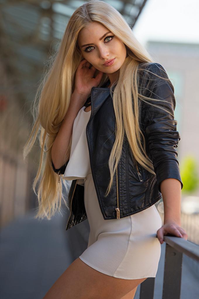 Фото блондинок Soraya, Miss Germany 2017 Поза куртках Девушки Взгляд Платье  для мобильного телефона блондинки Блондинка позирует куртке куртки Куртка девушка молодая женщина молодые женщины смотрит смотрят платья