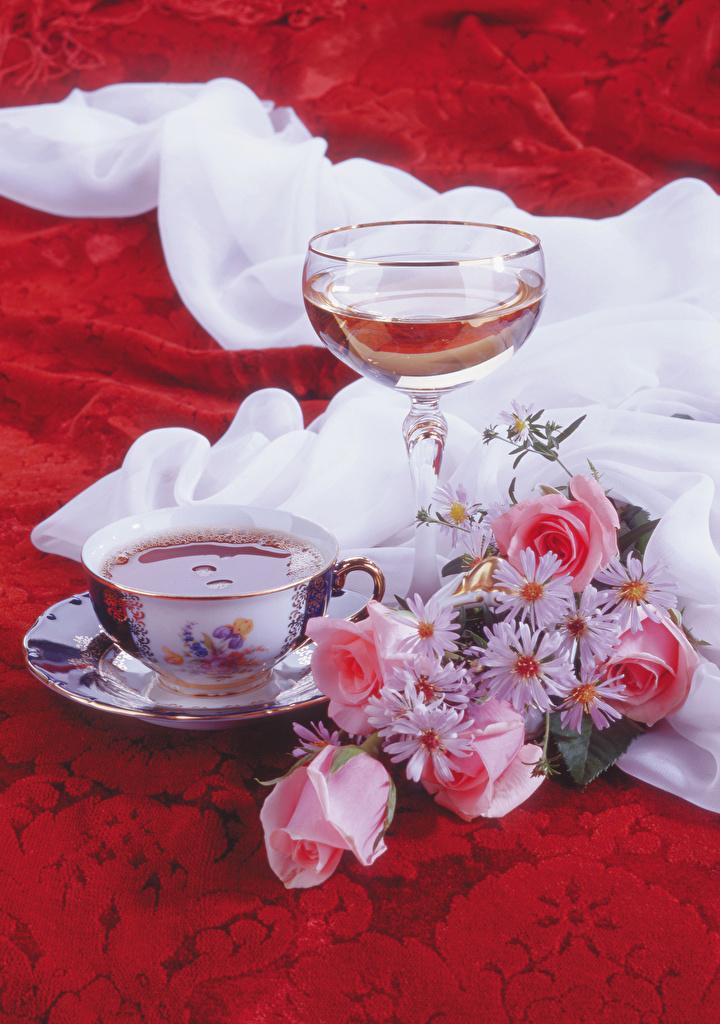 Фотографии Букеты роза Вино Цветы Ромашки Пища Чашка бокал Натюрморт букет Розы цветок ромашка Еда чашке Бокалы Продукты питания