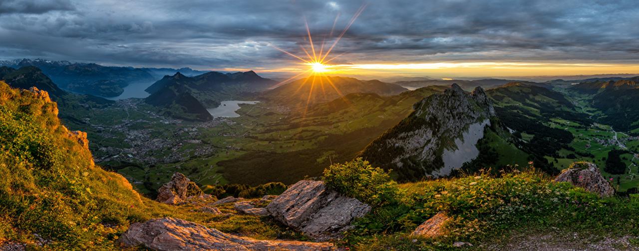 Фотография Альпы Швейцария Schwyz гора солнца Природа рассвет и закат альп Горы Солнце Рассветы и закаты