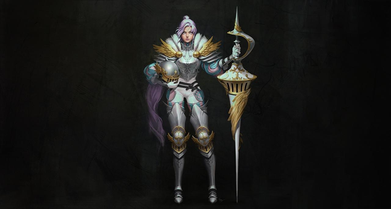 Картинки Рыцарь с копьем воин Шлем Harang • Knight spears Девушки Фантастика Копья воины шлема в шлеме Воители Фэнтези девушка молодая женщина молодые женщины