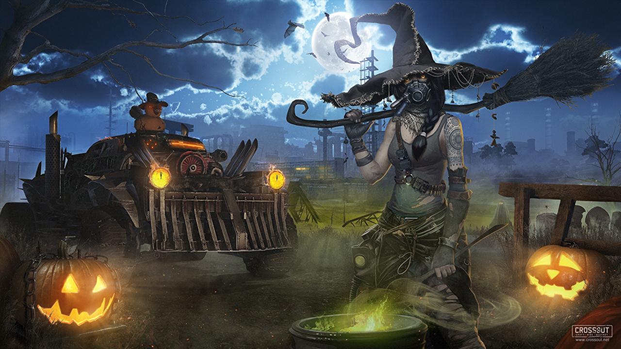 Картинки Crossout Ведьма 3д шляпы Хеллоуин Фантастика Игры луной в ночи Шляпа шляпе Фэнтези 3D Графика луны Луна компьютерная игра Ночь ночью Ночные