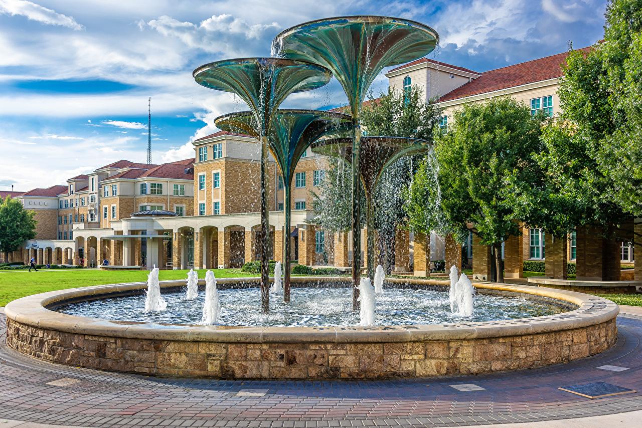 Фото Техас США Фонтаны Fountain in Fort Worth с брызгами Города Здания Дизайн штаты америка Брызги Дома город дизайна