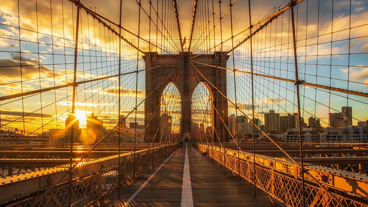 Фото Нью-Йорк США brooklyn Мосты Утро Рассветы и закаты Города штаты
