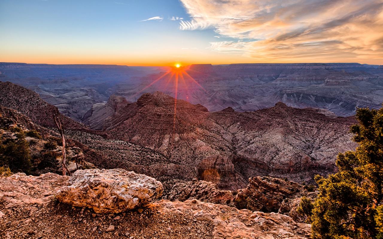 Картинка Гранд-Каньон парк США Arizona Горы Каньон Природа Пейзаж Рассветы и закаты штаты америка гора каньоны каньона рассвет и закат