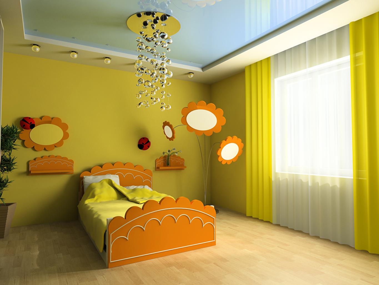 Фотографии Детская комната 3д Интерьер Люстра кровати дизайна 3D Графика люстры кровате Кровать Дизайн